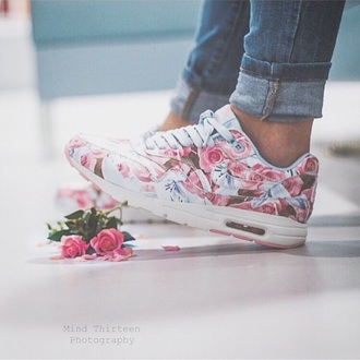 shoes nike floral turquoise pink pastel roses nike running shoes