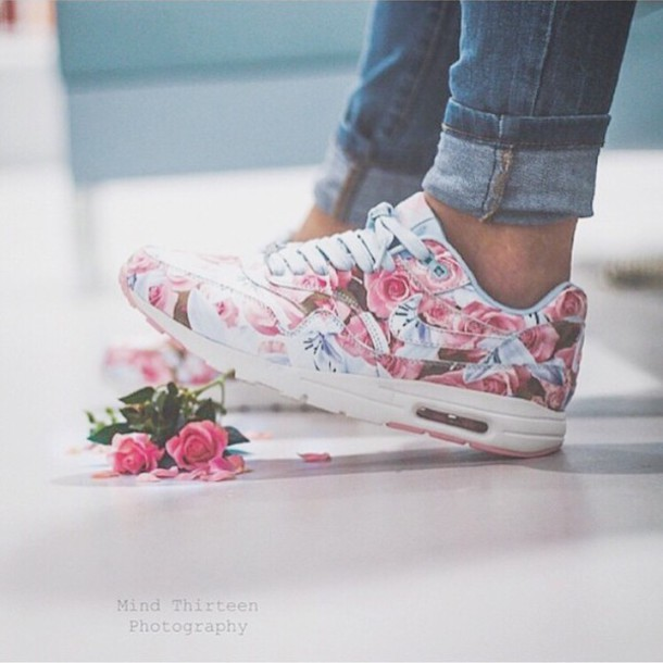Shoes nike floral turquoise pink pastel roses nike running like follow mightylinksfo