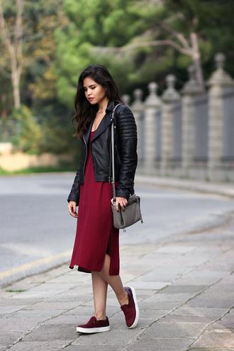 fake leather blogger vans red dress leather jacket