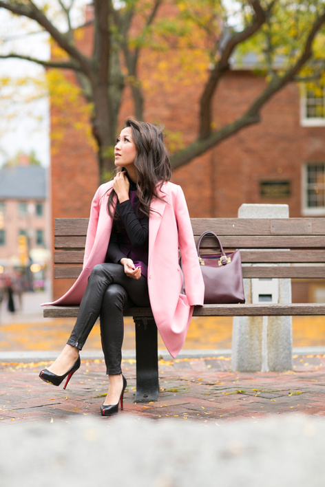 Color Love :: Rose car coat & Purple peplum : Wendy's Lookbook