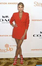jacket,blazer,red,red dress,mini dress,charlotte mckinney,blazer dress