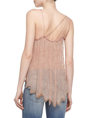 top neiman marcus free people fairy dust pink coral beaded embellished scalloped scallop hem sequins chiffon rayon viscose square neckline sleeveless tiered jagged summer spring sale fashion girly glitter