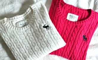 blouse white pink knitwear abercrombie & fitch sweater