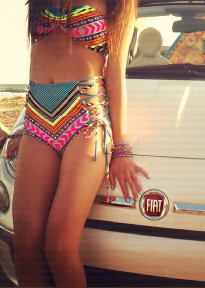 swimwear cute hippie colorful yellow aztec boho hipster orange pink blue pattern bikini highwaisted highwaisted bikini tribal bathing suit vintage bright rainbow bikini string bikini high waisted bikini colorful bikini