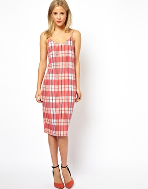 ASOS | ASOS Check Print Midi Cami Dress at ASOS