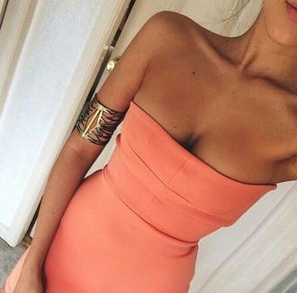 dress coral dress strapless dress pastel dress coral summer dress jewels peach orange orange dress mini dress bodycon i want the same pleaseeeee help me this please summer tan skin strapless tube top dress tan salmon party prom beach slim top red dress peach dress