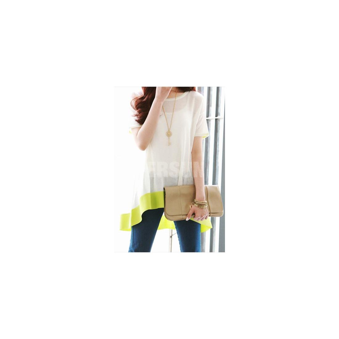 Neon Color Wedge White Chiffon Tee [FCBI00239]- US$ 28.99 - PersunMall.com