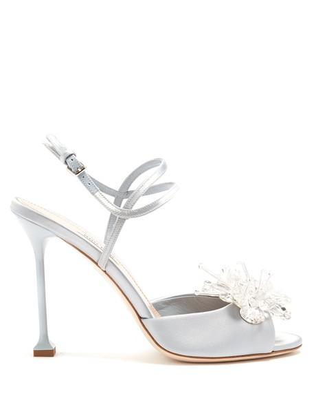 Miu Miu embellished sandals satin light grey shoes