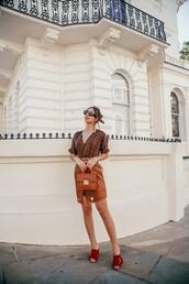 bibigoeschic,blogger,skirt,sunglasses,bag,jewels,fall colors,mules,leather skirt