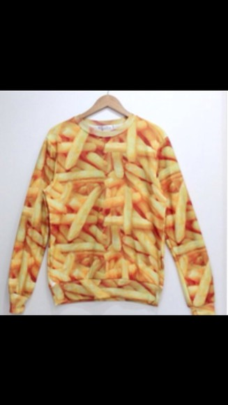 sweater food funky fries cute colorful