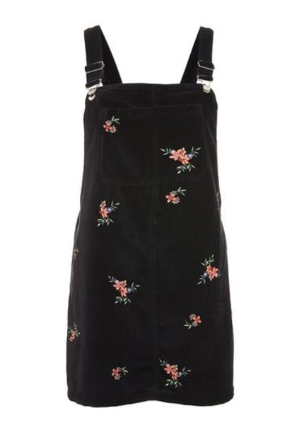 Topshop dress pinafore dress embroidered black velvet