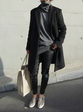 sweater,grey,printed slippers,coat,black,grey t-shirt,turtleneck,longline,leather,black leather pants,knitwear,fall outfits,winter sweater,slip on shoes,sneakers,snake skin,animal print,shoes,jeans,pants,oversized turtleneck sweater,boyish