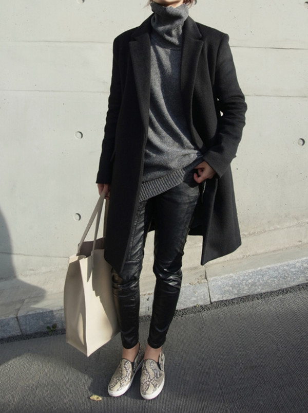 sweater grey printed slippers coat black grey t-shirt turtleneck longline leather black leather pants knitwear fall outfits winter sweater slip on shoes sneakers snake skin animal print shoes jeans pants oversized turtleneck sweater boyish