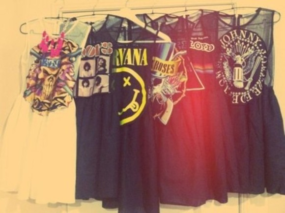 dress nirvana pink floyd bands guns and roses the doors black white sheer