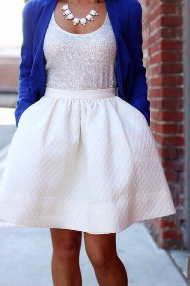 jacket blue jacket blazer summer outfits dress white dress sweater statement necklace jewels skirt white sequins