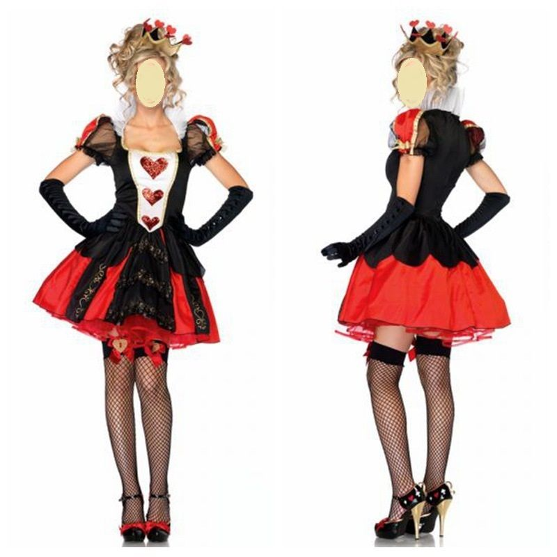 New alice in wonderland queen of heart ladies women fancy dress costume 8