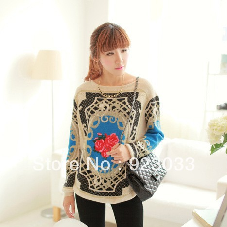 Aliexpress.com : Buy Autumn summer Pullover Sweater Women Vintage Rose Printed National Style Knitted Sweater New 2013 Winter Pullover Sweater from Reliable knitted sweater fashion suppliers on I Love Cardigan.