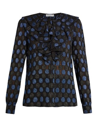 blouse silk blue black top