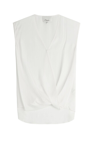 blouse draped silk white top