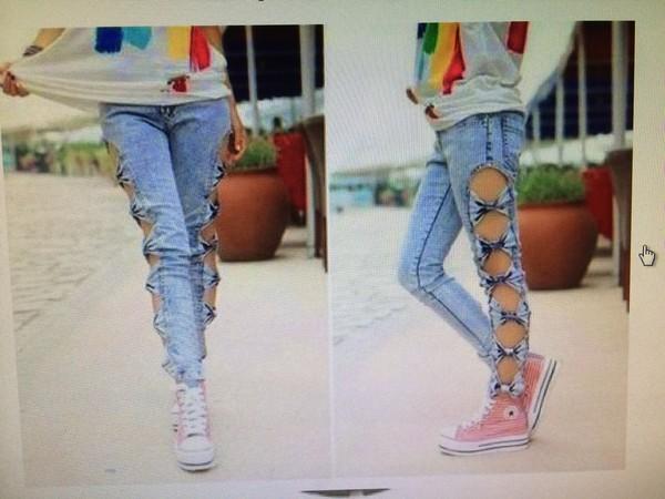 jeans ribbon blue jeans beautiful cool
