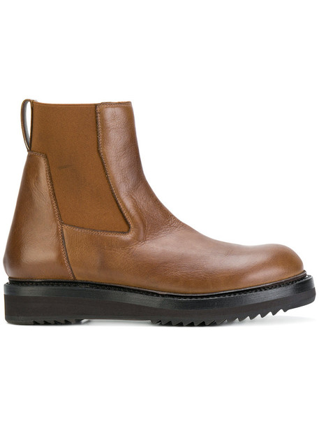 Rick Owens women chunky sole chelsea boots leather brown shoes