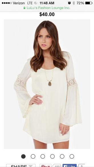 dress white dress long sleeve dress hippie