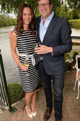 dress stripes midi dress pumps pippa middleton