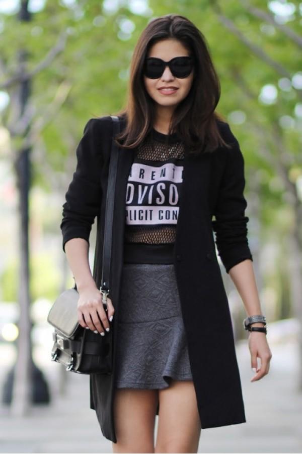 t-shirt letters print top black t-shirt kcloth black top contrast mesh sleeves