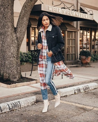 shirt long shirt denim black jacket white boots tartan shirt tartan jacket denim jacket blue jeans jeans boots pointed boots