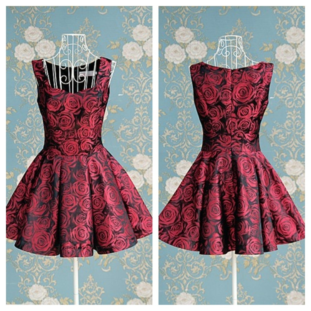 Elegant roses print nice dress