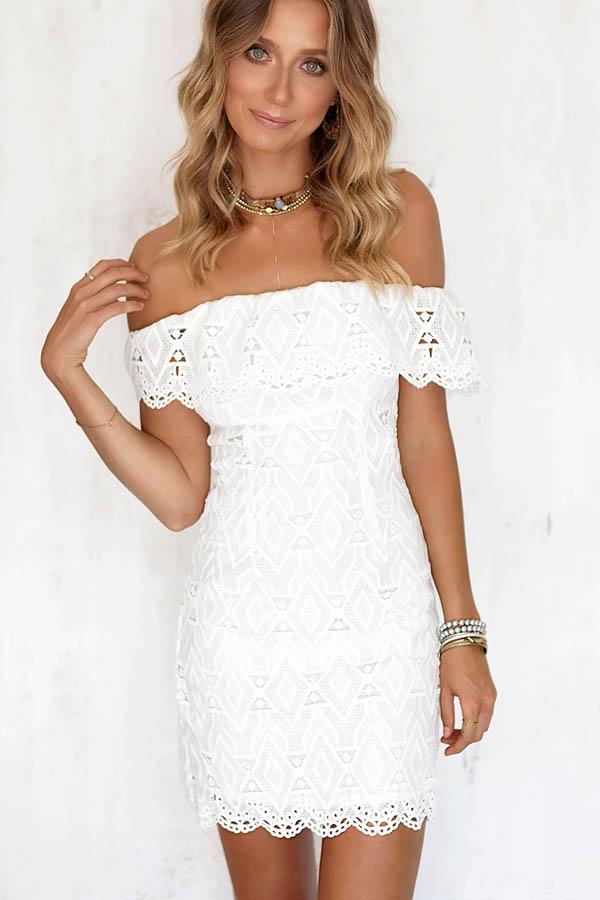 White Crochet Lace Off Shoulder Bodycon Dress