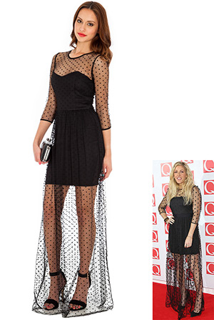 Ditsy Spot Flock Maxi Dress in the style of Ellie Goulding
