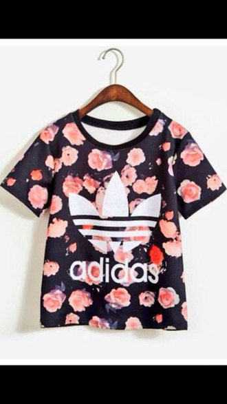adidas style shirt t-shirt blouse floral shirt fashion athletic pink flowers adidas shirt roses
