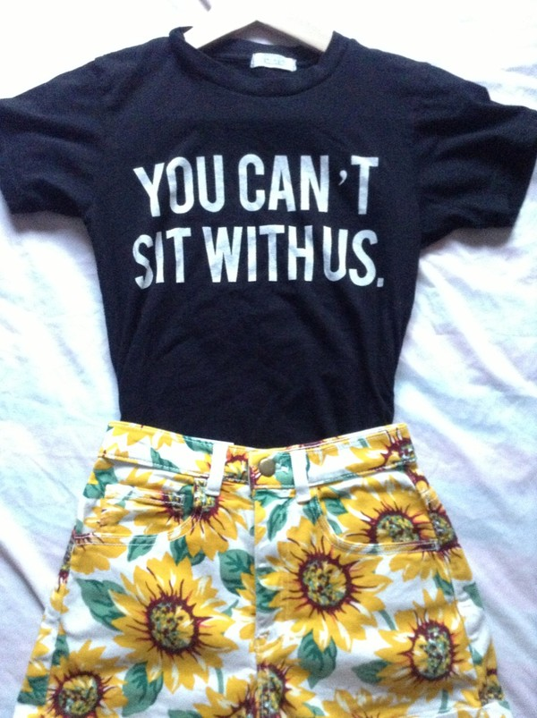 t-shirt t-shirt shirt black brandy melville you can't sit with us flowered shorts minkpink shorts floral sunflower minkpink black t-shirt shorts