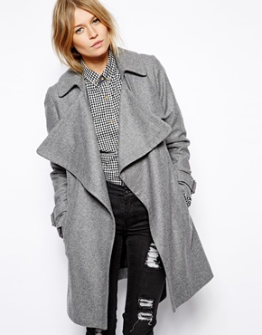 ASOS | ASOS Coat with Waterfall Drape Front in Wool at ASOS