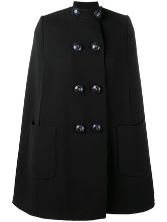 cape women embellished black silk wool top