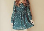 dress,classy,cute,polka dots,collar,silk,vintage,long sleeves,neon pink,teal dress,girly,vans