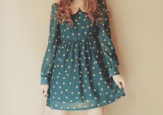 dress classy cute polka dots collar silk vintage long sleeves neon pink teal dress girly vans