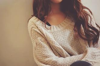sweater beautiful autumn fasion cute beige brunette