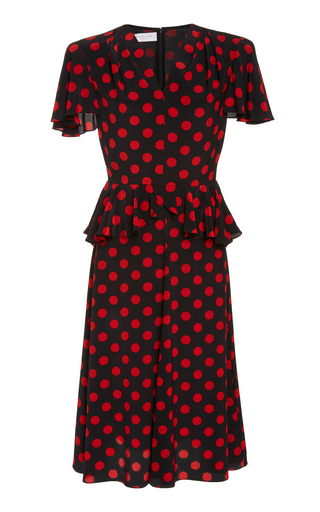 Large Polka-Dot Peplum Silk Dress by Michael Kors Collection | Moda Operandi