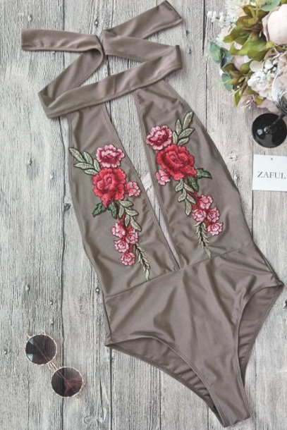 swimwear embroidered girly one piece swimsuit one piece floral rose