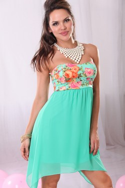 MINT FLORAL STRAPLESS CHIFFON ASYMMETRICAL DRESS,Cute & Trendy ...