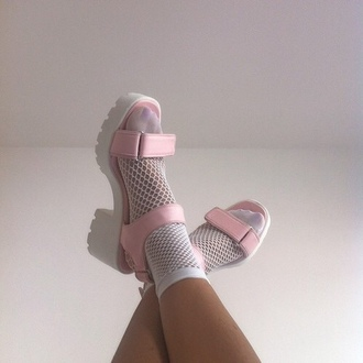 platform shoes socks pastel pastel goth sandals shoes pastel pink pink