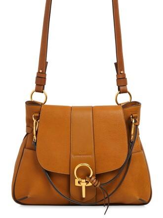 bag shoulder bag leather brown mustard