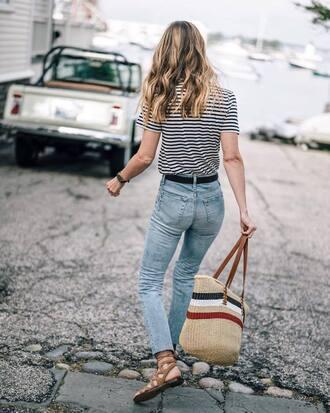 t-shirt tumblr stripes striped t-shirt bag denim jeans blue jeans sandals flat sandals shoes