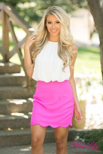 skirt scalloped skirt pink skirt mini skirt top white top summer top summer outfits