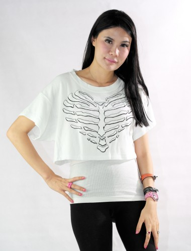 Clean White Skeleton Heart Cropped Tee