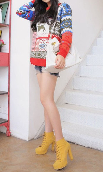 sweater deer christmas knitted sweater snow party flowers print green cute round neck long sleeves multicolor navy high heels cute hand bag