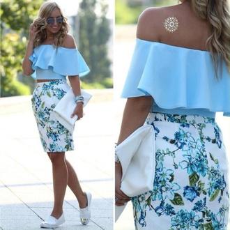skirt floral skirt pencil skirt ruffled top off the shoulder top