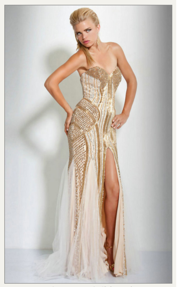 Dress: gold sequins, sequins, prom dress, cream, sparkling dress ...